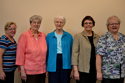 New council: Sisters Patty Kremer, Nancy Kinross, Ceil Taphorn, Joyce Lehman, Linda Pleiman